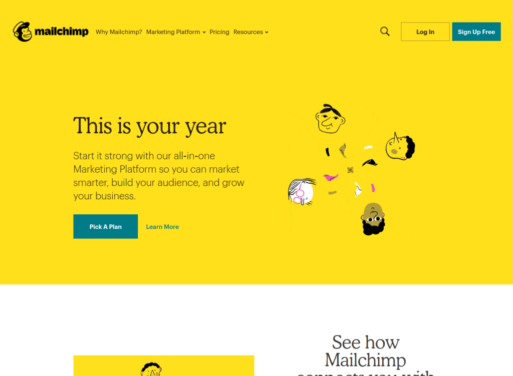 Mailchimp's homepage view