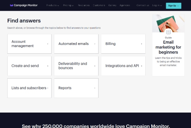 Campaign Monitor's FAQ section