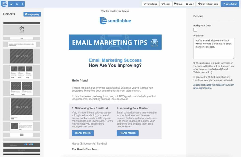 SendinBlue's Email template designer window
