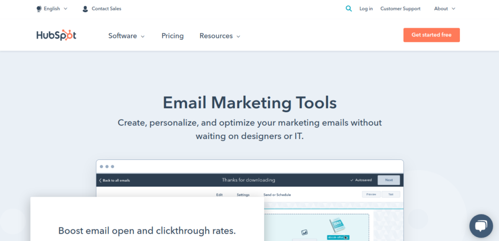 hubspot email marketing tool