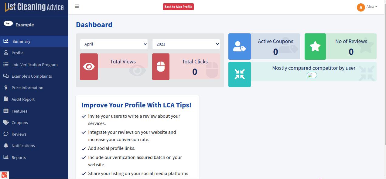 Dashboard - ListCleaningAdvice