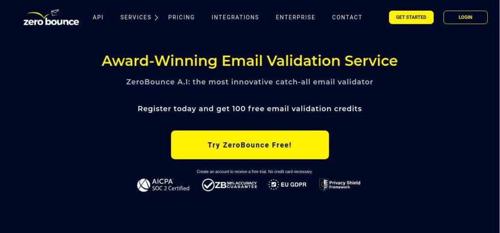 ZeroBounce | Email Verifier | Screenshot